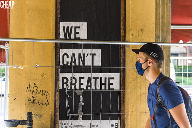 We can't breathe - La lotta è FICA, Bologna, 2020. Un progetto di public art di CHEAP. photo credit: Michele Lapini
