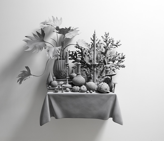 Hans Op de Beeck - Vanitas (Variation) 29, 2019. Scultura:gesso, legno, acciaio, poliammide, poliestere, rivestimento 93 x 42 x 88 cm, 2019. Courtesy: the artist and GALLERIA CONTINUA Photo by: Studio Hans Op de Beeck