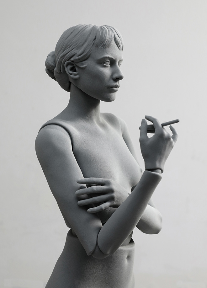 Hans Op de Beeck - Celeste (smoking), 2020. legno, poliammide, acciaio inossidabile, rivestimento 40 x 40 x 167 cm, 2020. Courtesy: the artist and GALLERIA CONTINUA Photo by: Studio Hans Op de Beeck