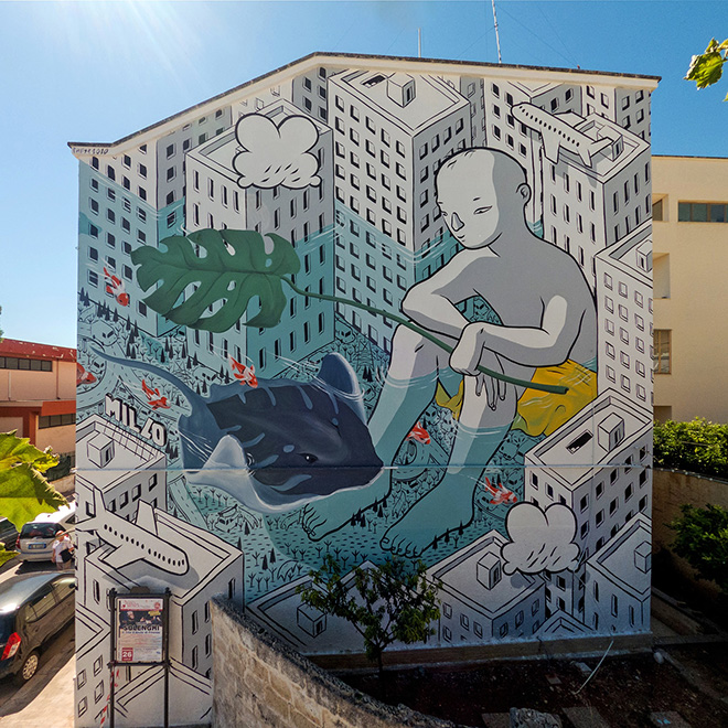 Millo - Beyond the sea, murale a Cala Portavecchia, Monopoli (Italia)