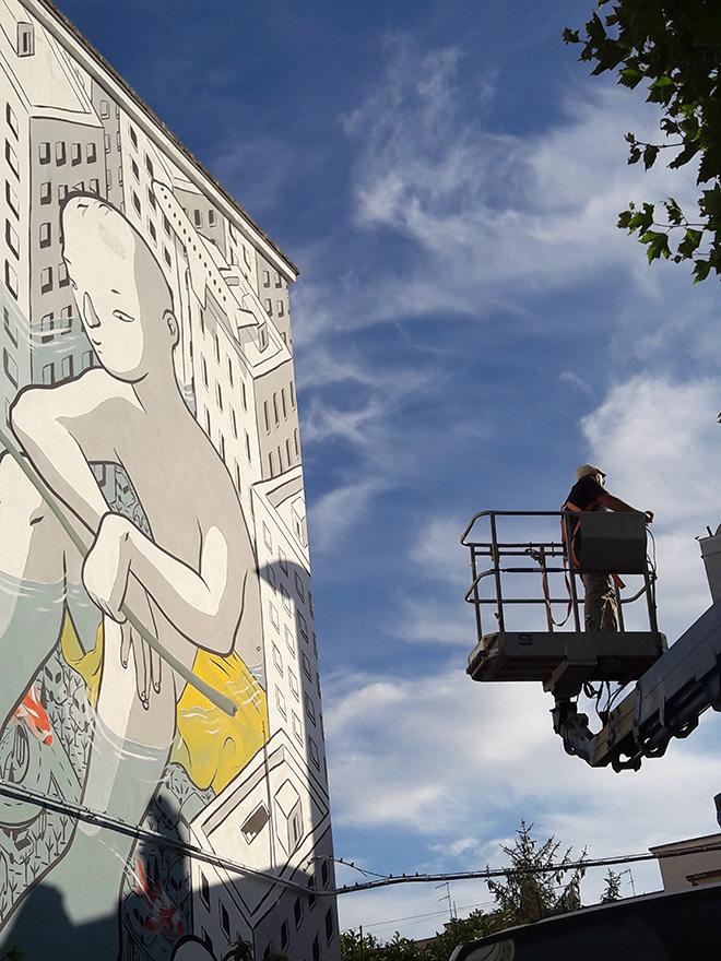 Millo - Beyond the sea, work in progress, murale a Cala Portavecchia, Monopoli (Italia)