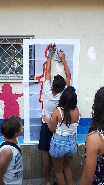 Ostia Up! - Arte urbana al Centro Sociale Anziani di Piazza Ronca, Work in progress