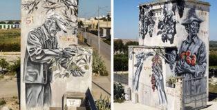 Piskv - Si colora quando tocca le sue mani, murale a Canosa di Puglia (BAT)
