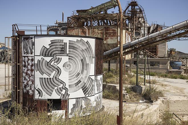 2501 - ANCIONE (Negative and Positive Space), murale per Bitume - Industrial Platform of Arts, Ragusa