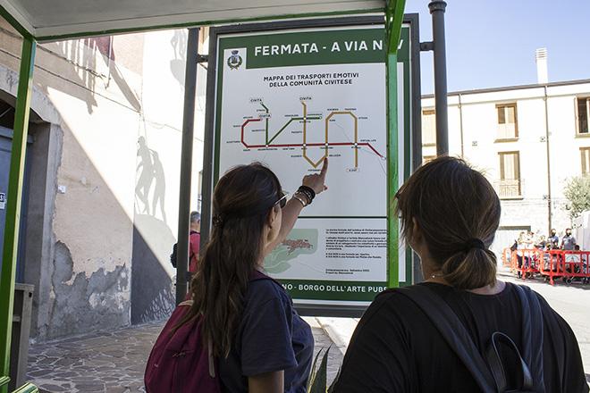 Biancoshock - (A Via Nov), Cvtà Street Fest 2020, Civitacampomarano. Photo credit: Giorgio Coen Cagli. The imaginary map of the public transport network visually creates the word CVTA.
