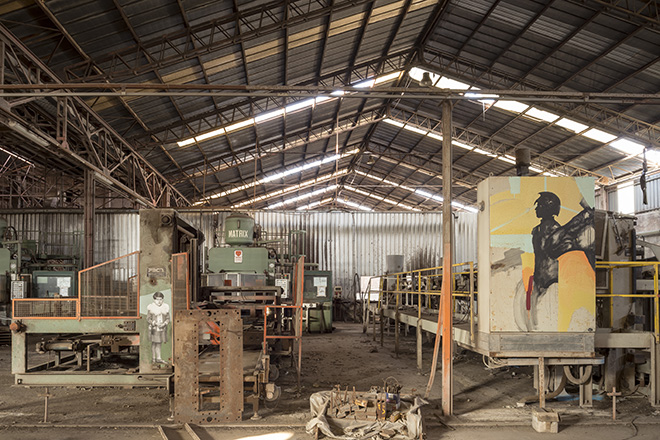 BITUME - Industrial Platform of Arts. Alcune opere di Bitume realizzate in uno dei capannoni del reparto Presse