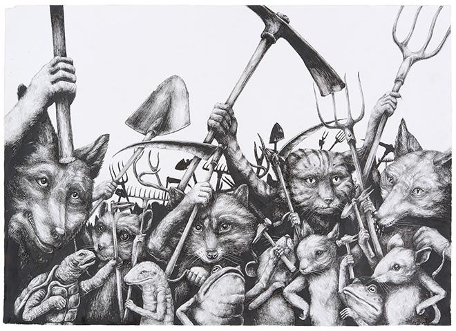 Ericailcane - Manifestazione, 2di4, 70x50 cm.