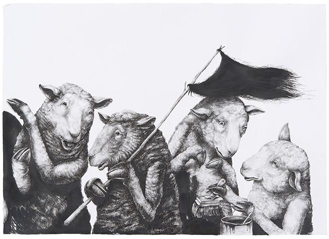 Ericailcane - Manifestazione, 4di4, 70x50 cm.