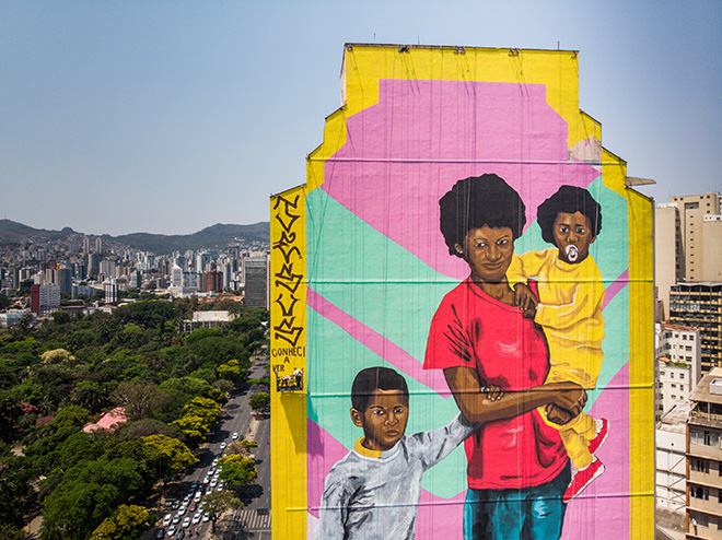 Robinho Santana - Mural for CURA - Urban Art Circuit, Belo Horizonte (Brazil). photo credit: Instagrafite