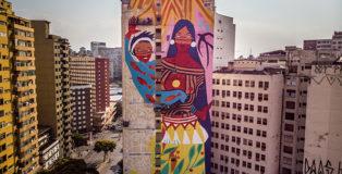 Daiara Tukano - Mural for CURA - Urban Art Circuit, Belo Horizonte (Brazil). photo credit: Instagrafite