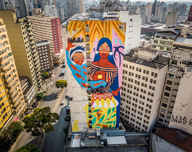 Daiara Tukano - Mural for CURA - Urban Art Circuit, Belo Horizonte (Brazil). photo credit: Instagrafite
