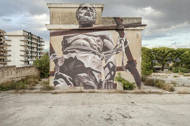 Ligama - (Pece e gloria), murale per BITUME - Industrial Platform of Arts, Ragusa