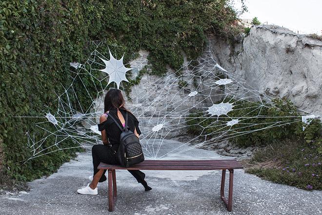 Nespoon - Cvtà Street Fest 2020, Civitacampomarano. Photo credit: Giorgio Coen Cagli. The work of Nespoon created with the precious laces of Civitese women.