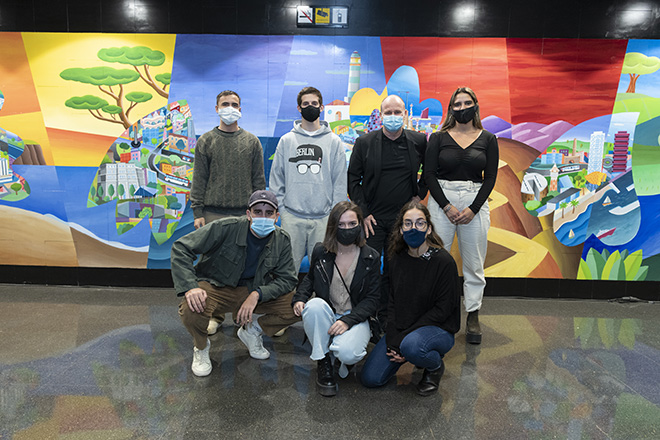 Philip Stanton - The colours of the gratitude, mural (stazione Guinardó / Hospital de Sant Pau), Barcellona. photo credit: ©Miquel Ángel Cuartero