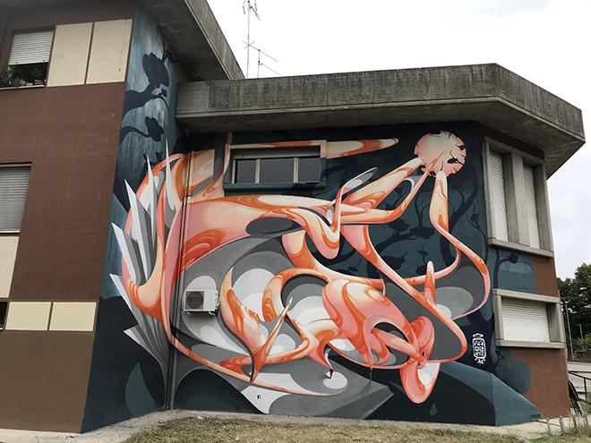 Made514 - Murale, Piccola Biblioteca Ideale, quartiere Te Brunetti, Mantova