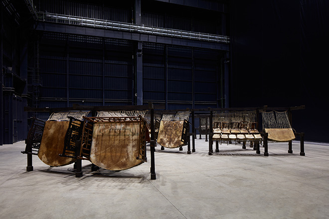 Chen Zhen - Jue Chang, Dancing Body - Drumming Mind (The Last Song), 2000 Installation view, Pirelli HangarBicocca, Milan, 2020. PINAULT COLLECTION. © ADAGP, Paris. Courtesy Pirelli HangarBicocca, Milan Photo: Agostino Osio
