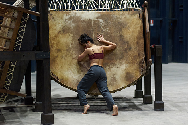 Chen Zhen - Jue Chang, Dancing Body - Drumming Mind (The Last Song), 2000. Installation view and performance, Pirelli HangarBicocca, Milan, 2020. PINAULT COLLECTION. © ADAGP, Paris. Courtesy Pirelli HangarBicocca, Milan Photo: Francesco Margaroli