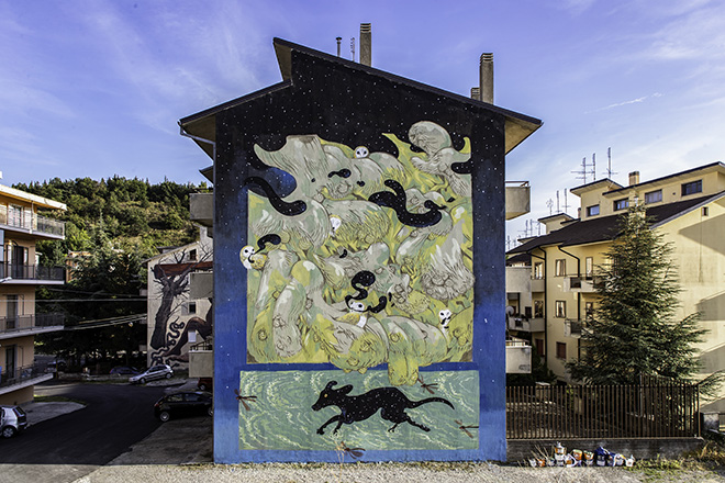 Hitnes - I mangiatori di notte, AppARTEngo, murale a Stigliano (MT), Italy