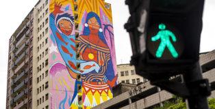 Daiara Tukano - Mural for CURA - Urban Art Circuit, Belo Horizonte (Brazil). photo credit: Bruno Figueiredo