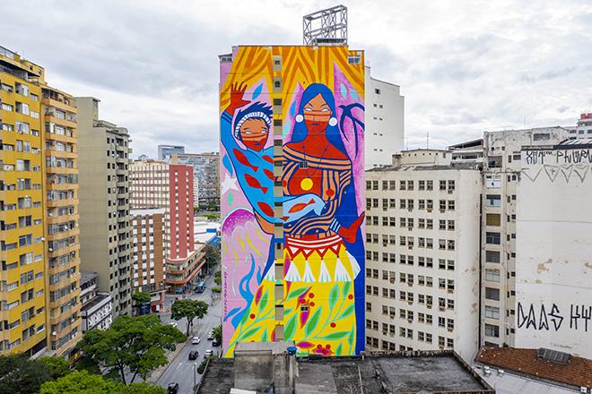 Daiara Tukano - Mural for CURA - Urban Art Circuit, Belo Horizonte (Brazil). photo credit: Caio Flavio