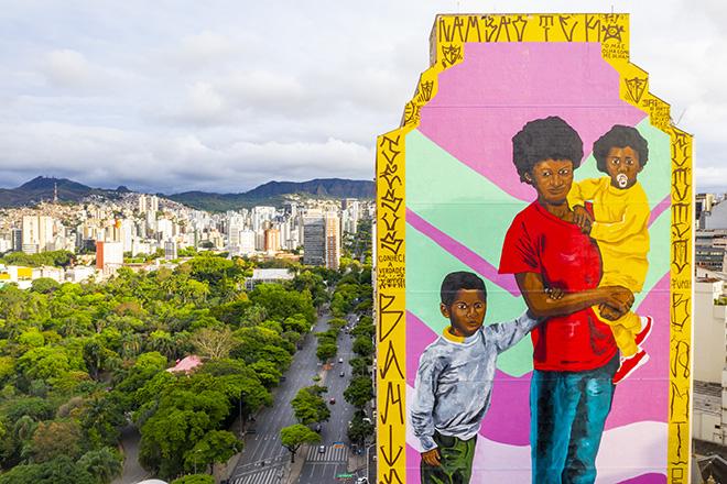 Robinho Santana - Mural for CURA - Urban Art Circuit, Belo Horizonte (Brazil). photo credit: Caio Flavio