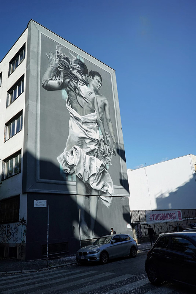 JDL - Outside In, murale a Roma (ITIS ARMELLINI, Largo Beato Placido Riccardi, quartiere San Paolo). Photo credit: Yourban2030