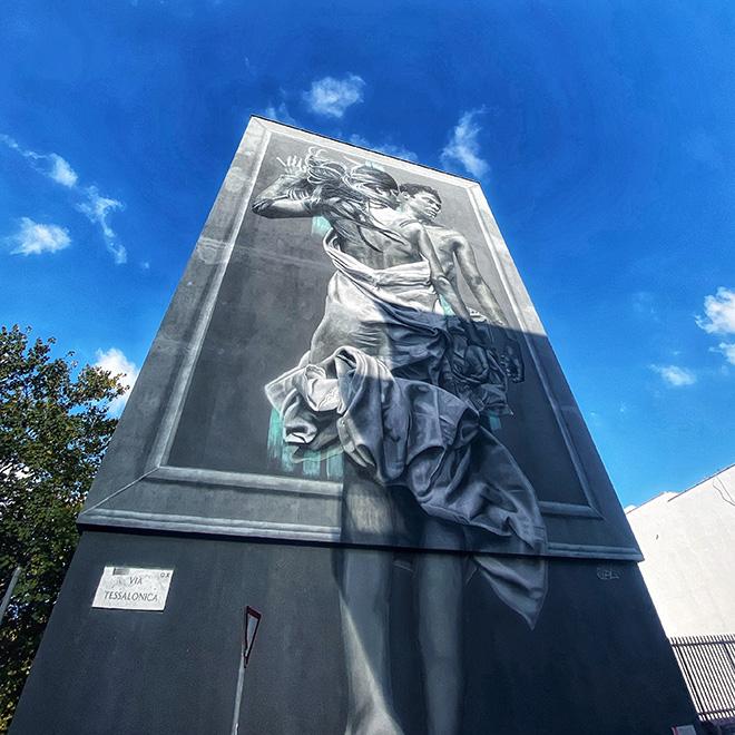 JDL - Outside In, murale a Roma (ITIS ARMELLINI, Largo Beato Placido Riccardi, quartiere San Paolo). Photo credit: Maura Crudeli