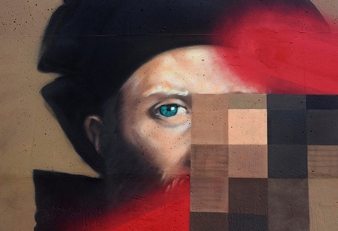 OZMO - Il Cortegiano, Close-up (Baldassare Castiglione pixelated-pimped with schtroumpf), Saint-Ouen-sur-Seine (Parigi), GemellArte 2020. Photo credit: Daniel Maunoury
