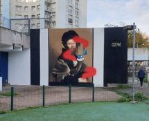 OZMO - Il Cortegiano (Baldassare Castiglione pixelated-pimped with schtroumpf), Saint-Ouen-sur-Seine (Parigi), GemellArte 2020