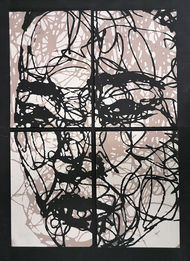 Marco Réa - Guerriera, 4 pezzi totale 64x80 cm, stencil  su legno, 2020 - Grovigli, Nero gallery, Roma