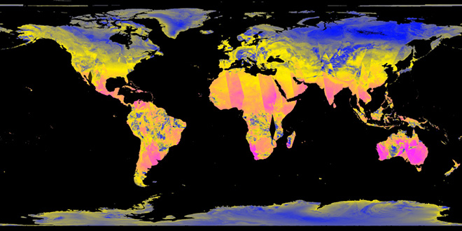 © Dotdotdot per MAAT: data visualization della temperatura globale per la video installazione Planet Calls – Imagining Climate Change  - dati dei satelliti dal programma ESA Copernicus (European Space Agency)