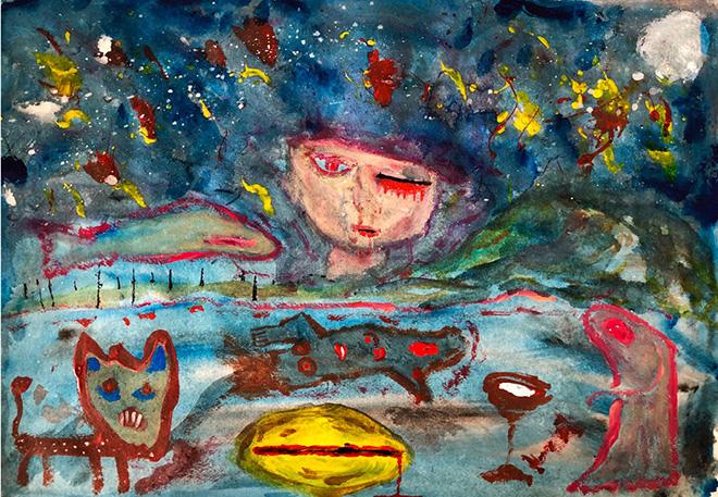 Yuval Avital, Silent Night, 2018, tecnica mista su carta / mixed media on paper, 42 x 59,4 cm