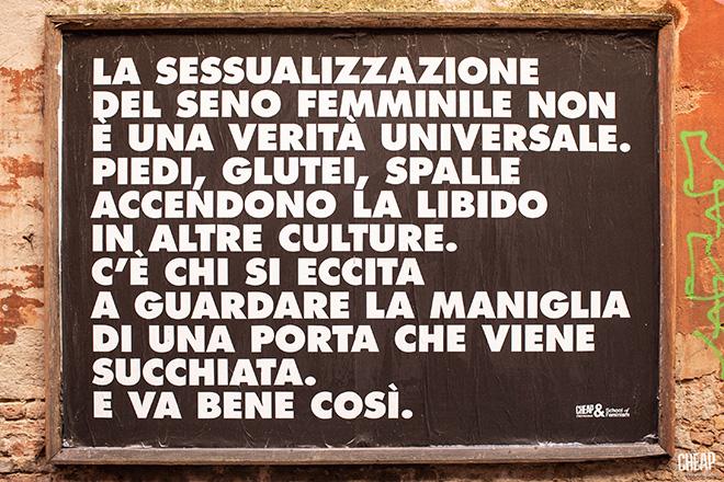CHEAP, School of Feminism - TETTE FUORI, street poster art (via dell'Abbadia), Bologna. photo credit: Margherita Caprilli