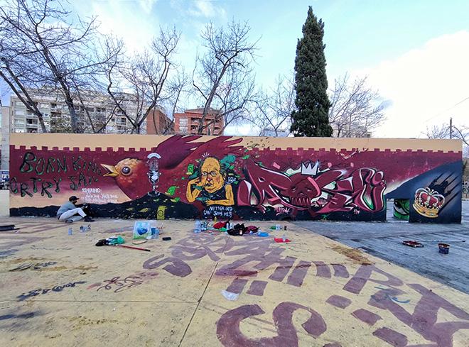 Antòn Seoane & El Rughi & Magia Trece & Doctor Toy - Graffiti Jam a Barcellona, Parque de las Tres Chimeneas, (Libertà per Pablo Hasel)