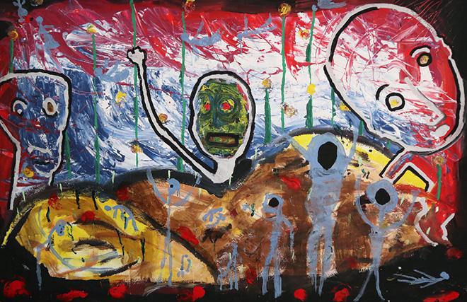 Yuval Avital, Medium Armageddon, 2019, tecnica mista su carta / mixed media on paper, 147 x 225 cm