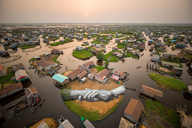 Saype - Beyond Walls, Ganvié, Benin. photo credit: Valentin Flauraud (@Vflpix)