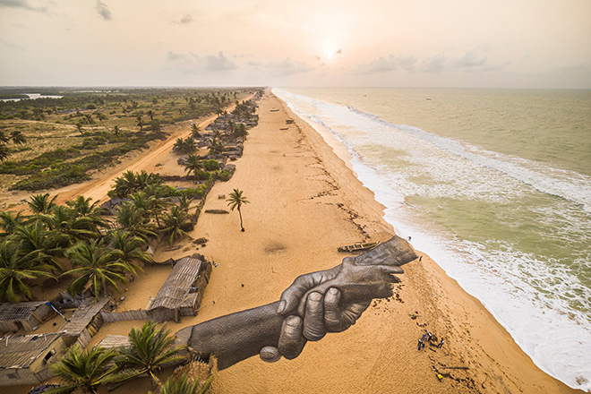 Saype - Beyond Walls, Ouidah, Benin. photo credit: Valentin Flauraud (@Vflpix)