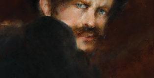 Giacomo Balla - Autoritratto , 1894 ca.olio su carta fotografica, 340 x 305 mm . Dipinto sul retro di un ritratto fotografico di Balla bambino (vedi foto)