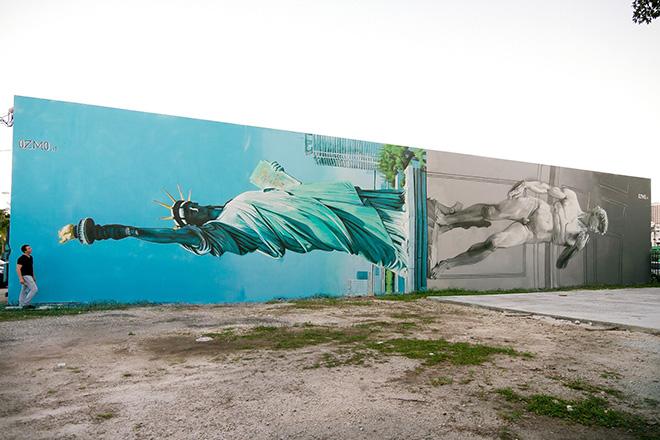 Ozmo - Lady Liberty and David sharing the same pedestal, Wynwood Art District Miami, 2014