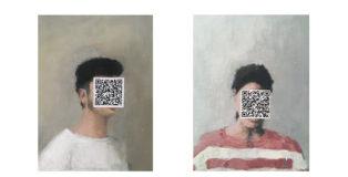 Agata Treccani, 45°25'55.8''N 12°19'28.3''E e 46°04'12.8''N 11°07'20.8''E (Landscape), 2018, acrilico su tela, 31x42cm