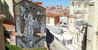 Monkeybird - Mymesis, beings and places. Murale alla Cattedrale di Burgos. photo credit: @cesitale