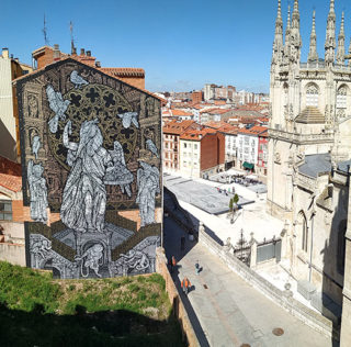 """Monkeybird – """"Mymesis, beings and places"""". Murale alla Cattedrale di Burgos"""