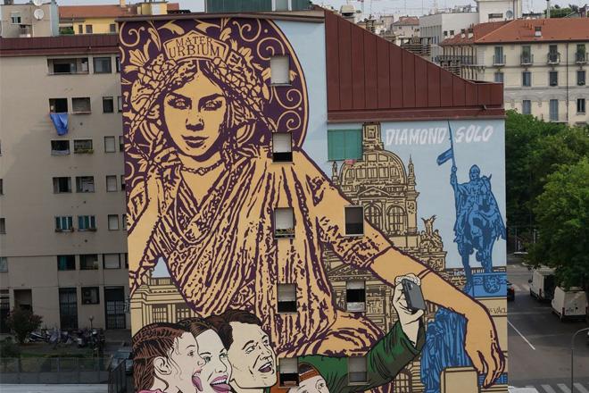 Solo e Diamond – Murale al Giardino delle Culture con suggestioni praghesi