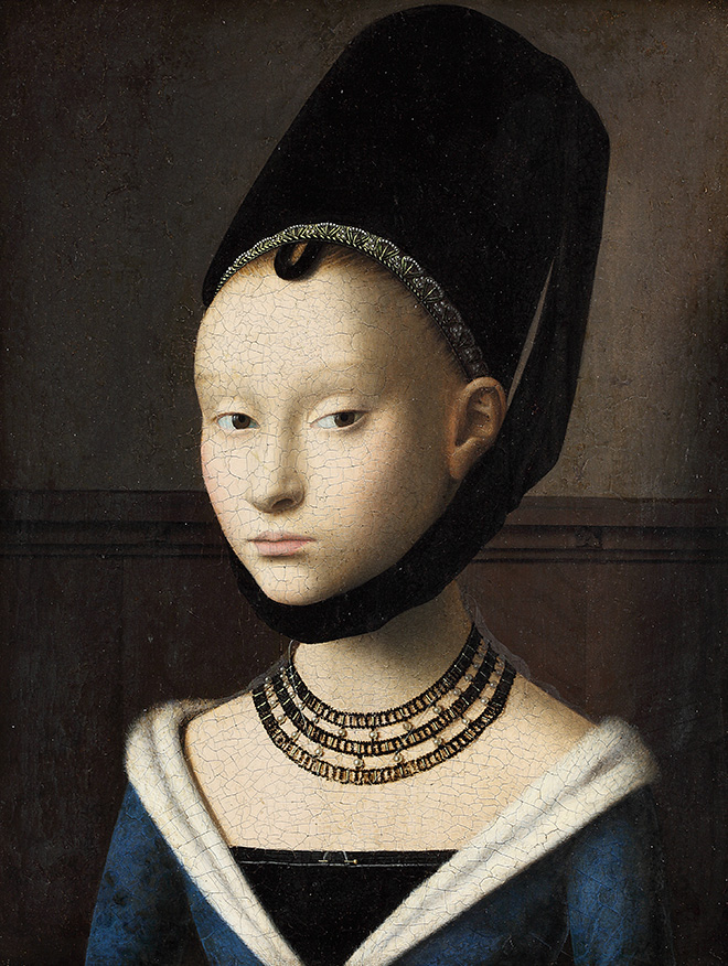 Petrus Christus, Portret van een jonge vrouw, c. 1470. Gemäldegalerie der Staatlichen Museen zu Berlin