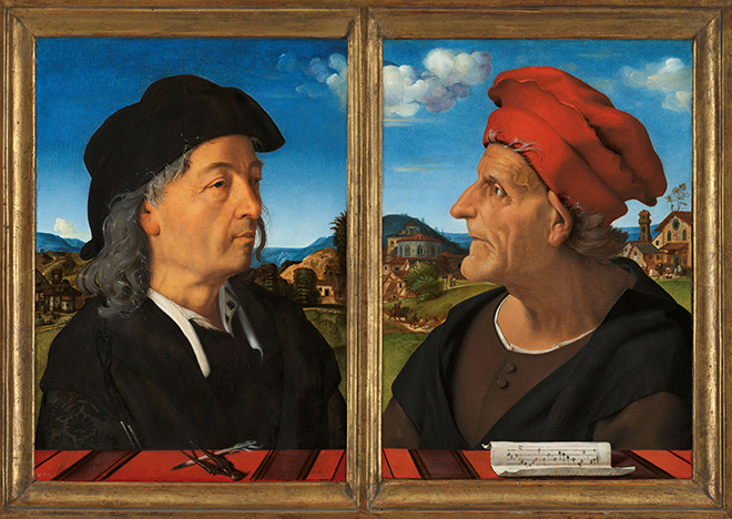 Piero di Cosimo, Portraits of Giuliano and Francesco Giamberti da Sangallo, 1482 - 1485. On loan from the Mauritshuis