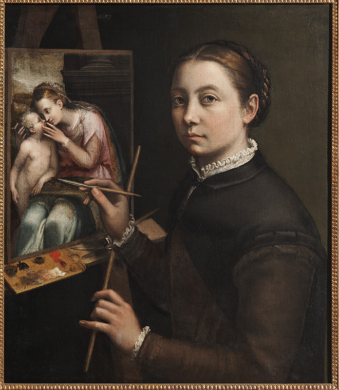 Sofonisba Anguissola, Zelfportret aan de schildersezel, ca. 1556–1557. ŁaŃcut, Muzeum-Zamek w ŁaŃcucie