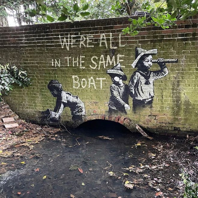 Banksy - Stencil (We are all in the same boat), Oulton Broad's Nicholas Everitt Park, Lowestoft, UK