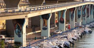 Ericailcane e Bastardilla - Murales sui piloni dell'asse attrezzato compreso tra il ponte Risorgimento e il ponte D'Annunzio, Pescara, MURAP Festival, 2021.