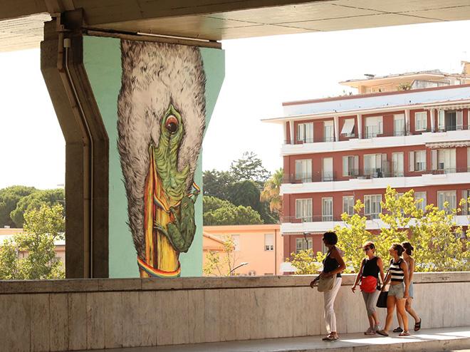 Ericailcane e Bastardilla - Murale sul pilone dell'asse attrezzato compreso tra il ponte Risorgimento e il ponte D'Annunzio, Pescara, MURAP Festival, 2021