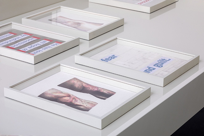 Marta Riniker-Radich, No Grace Period, 2021. 30 colored pencil and pencil on paper; inkjet print and various materials on paper, all 21 x 29,7 cm, wooden frames, 7 vitrines 100 x 170 x 92 cm, plexiglass. Photo ©Giulio Boem